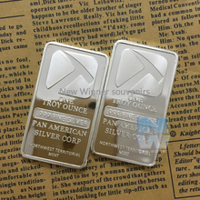 2 Pcs/Lot 999 Fine SILVER BAR BULLION US Pan American Silver plated Replica Bar northwest corp Hammer Coins