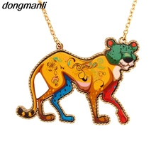 P702 Dongmanli Colorful Acrylic alloy Long section Sweater chain personality leopard Necklace for woman