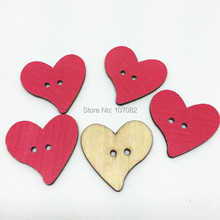 300pcs Dark Pink Wood Heart Buttons 25mm 2 Holes Sewing Button Embellishments Scrapbooking Cardmaking(China)