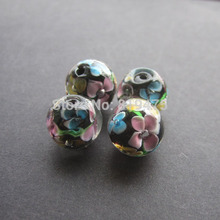 10Pcs 10mm 12mm Handmade Glass lampwork beads Flower Beads Black Color for jewelry making Wholesale and Retail(China)