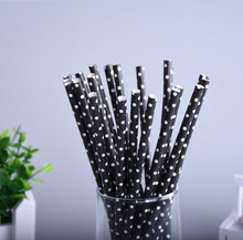 25pcs/lot Paper Drinking Straws Black With White Mini Dot Paper Straws Prom Kids Birthday Wedding Decoration Bar Party Straws