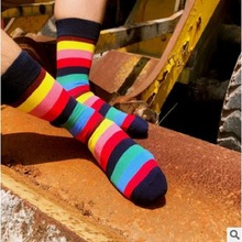 Classic rainbow stripe cotton socks Gentleman personality in the socks(China)