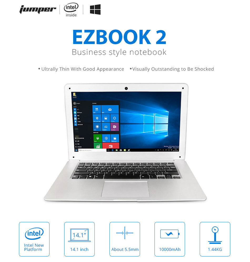 Jumper EZbook 2 A14 Laptop 14.1 Inch Windows 10 Ultrabook 1920 x 1080 FHD Display Intel Cherry Trail Quad Core Z8300 4GB RAM 64GB eMMC ROM Bluetooth Ultraslim Notebook Computer (1)