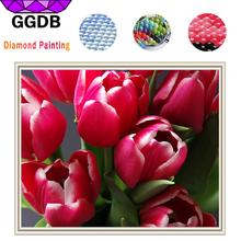 GGDB Full Square Diamond 5D DIY Diamond Painting Red Tulip Flowers Mosaic Kits Diamond Embroidery European Style Home Ornaments(China)