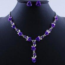 Мода кристалл свадебные аксессуары ожерелье серьги свадебные ювелирные изделия набор для женщин бесплатная доставка