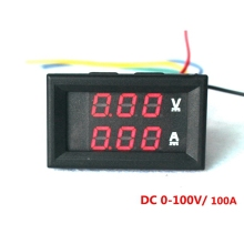 Red LED Digital DC voltmeter ammeter DC 0-100V/100A Voltage  Volt Amp Panel MeterCurrent meter  car Motorcycle Battery Monitor