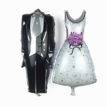 XXPWJ Free Shipping 73 * 72cm Bride and Groom Bridal Dresses Aluminum Balloons Children Toys Wedding Party Decorative U-007(China)