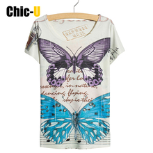 Chic-U Women Summer T Shirt Cotton 3D Print Two Butterfly Blue and Purple Mail Short Sleeve Harajuku Tee Tops Femme