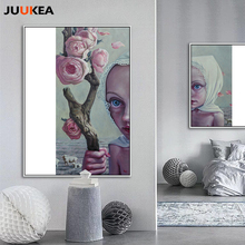 Nordic Soul Girl And Flower Modern Illustration Design Canvas Print Painting Poster Art Wall Pictures For living Room Home Decor(China)