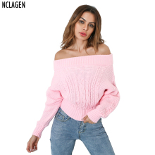 NCLAGEN 2017 Women Winter Clothing Sexy Pink Sky Blue Pullover Slash Neck Off Shoulder Long Sleeve Knitting Thick Sweater(China)