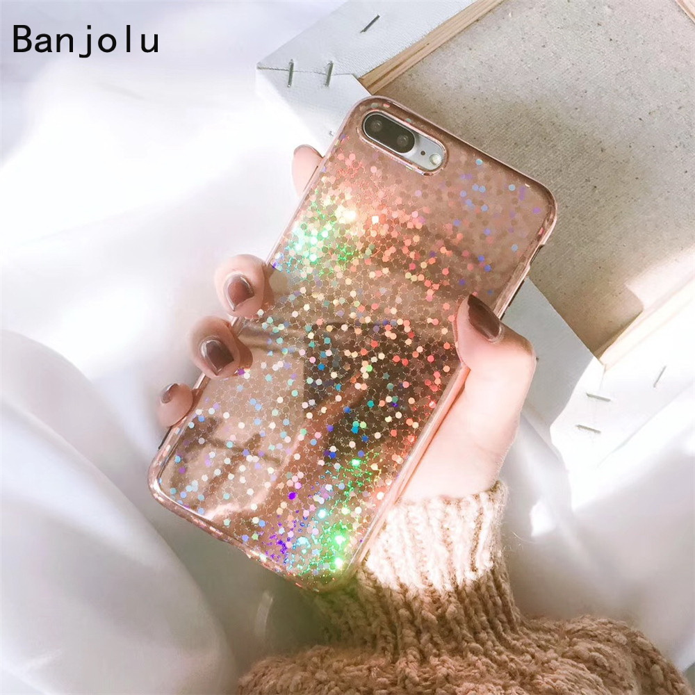 Banjolu New Fashion Retro Bling Glitter Laser Case iPhone X 8 7 Plus Soft TPU Back Cover iPhone 6 6Plus 6s 6sPlus Case