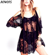 summer smock dress AOWOFS 2017 New Arrive Fashion Summer O-Neck Three Quarter Sleeve Black/White Lace Female smock dress