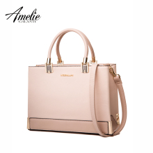 AMELIE GALANTI solid women handbags fashion famous design tote bag metal hard shoulder bag zipper pu saffiano office Lady 2017