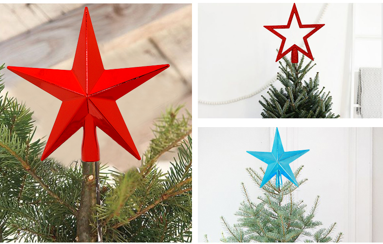 12 2018 inhoo Red Christmas Tree Top Decorations Stars For Home House Table Topper Decor Accessories Ornament Xmas Decorative Supplies