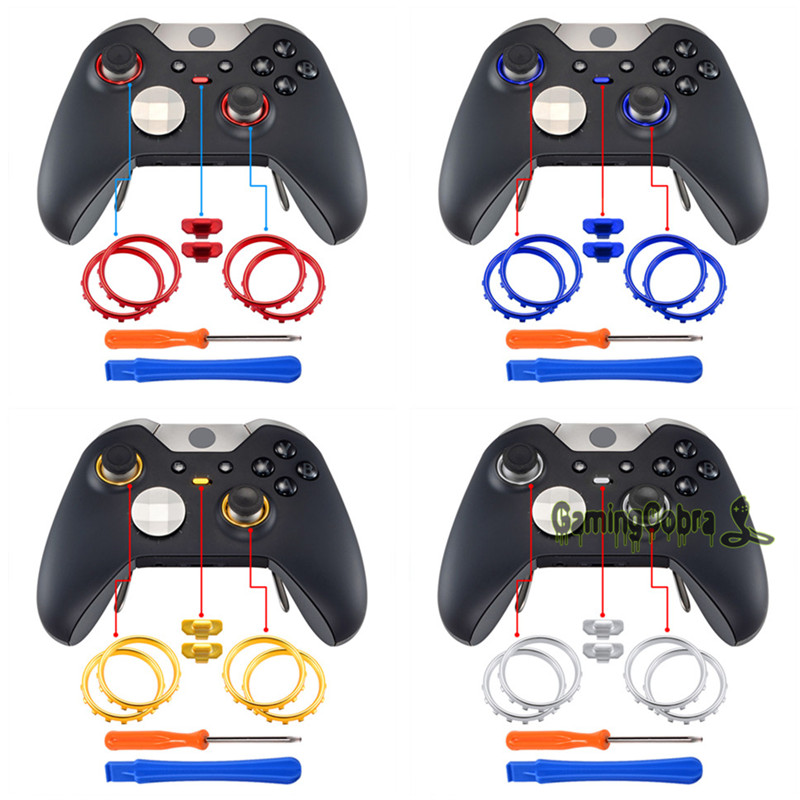 Unique Design Custom Chrome Accent Joystick Rings Set for Xbox One Elite Replacement Analog Sticks Game Controller Silver