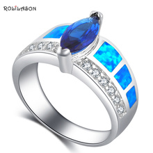 ROLILASON Perfect Gift for Girlfriend Blue Fire Opal 925 Silver Blue Zircon Fashion Jewelry Rings USA Size #6#7#8#9#10 OR876(China)