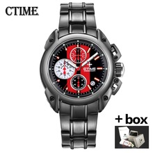 Chronograph mens watches top brand luxury Black Stainless Steel male sport wrist watch Waterproof Quartz watch Relogio Masculino(China)