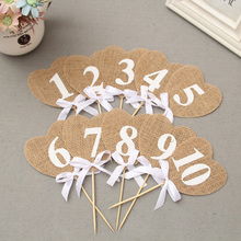 Jute Wedding Cake Topper Marriage Anniversary Table Number Rhinestone Crystal Birthday Party Decoration Kids Supplies Craft
