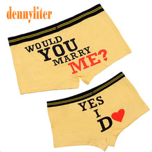 DENNYLITER 1 Set Couple Underwear Sexy Modal Panties Boxer Men Cartoon Lovers Underpants Couple Knickers Shorts(China)