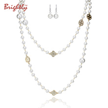 Brightly Simulated Pearl Necklaces Double layer Beads with Four Leaf Cloves Design Long Necklaces for Women Elegant Style(China)