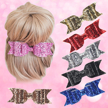 2016 New Arrival Girl's Shining Bowknot Spring Hair Clip Glitter Bow Barrette Hair Accessory