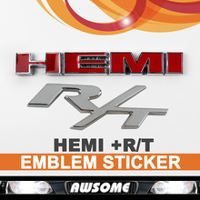 3D Red HEMI + R/T RT Silver Car Sticker Decal Engine Emblem For Dodge Charger Avenger Challenger Fender Tailgate 100% Brand New