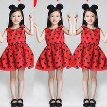 2016 New Summer Cute Casual Kids Baby Girls Red Minnie Cartoon Mouse Bow Party Princess Dress Sleeveless Toddler Clothes 1-6Y