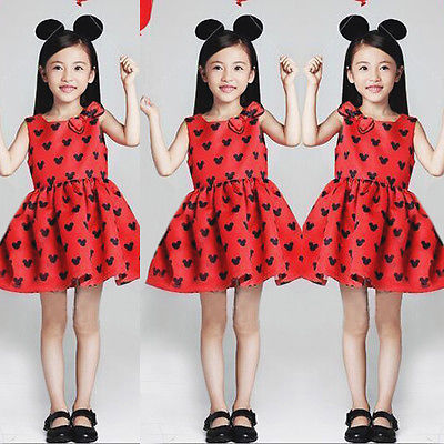2016 New Summer Cute Casual Kids Baby Girls Red Minnie Cartoon Mouse Bow Party Princess Dress Sleeveless Toddler Clothes 1-6Y<br><br>Aliexpress
