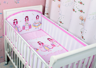Promotion! 5PCS Mesh Baby Bedding Set Baby Crib Bed Linens Newborn Crib Bedding Set Cot Set ,(4bumpers+sheet)<br>