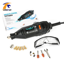 Tungfull 220V 130w Variable Speed Electric Rotary Tool Dremel Style Mini Drill with Safety Glasses and Accessories polishing(China)