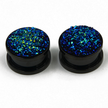 BOG-1Pair Anodized Black Stainless Steel Screw Fit Ear Tunnel Plug Gauge Expanders Earlet Piercing With Synthetic Druzy