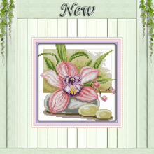 Pink daffodil beauty flowers decor painting counted printed on canvas DMC 11CT 14CT kits Cross Stitch embroidery needlework Sets