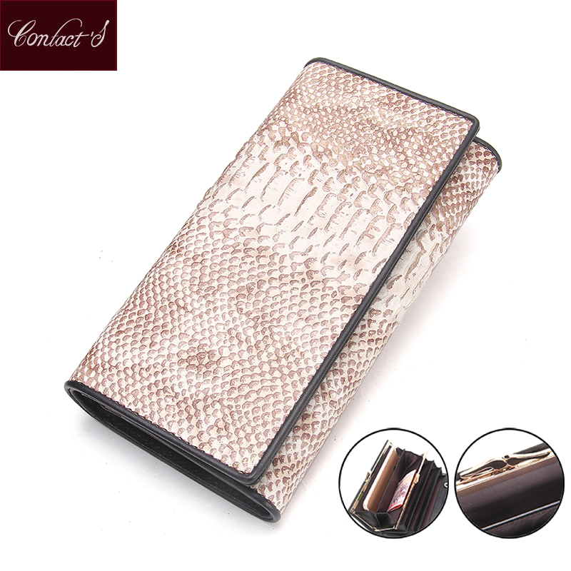 2018 New Fashion Long Women Clutch Wallets Genuine Leather Serpentine High Capacity Hasp Phone Purse Bifold Ladies Wristlet Bag<br>