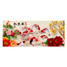 2016 New Arrivals DIY 5D Diamond Embroidery Painting Cross Stitch Peony Nine Fish Flowers Blossoming Painting Needle Arts Crafts