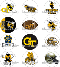 NCAA Georgia_Tech FOOTBALL galss Snap button Jewelry Charm Popper for Snap Jewelry picture pendant for BOYS Gl445 BOBOSGIRL(China)