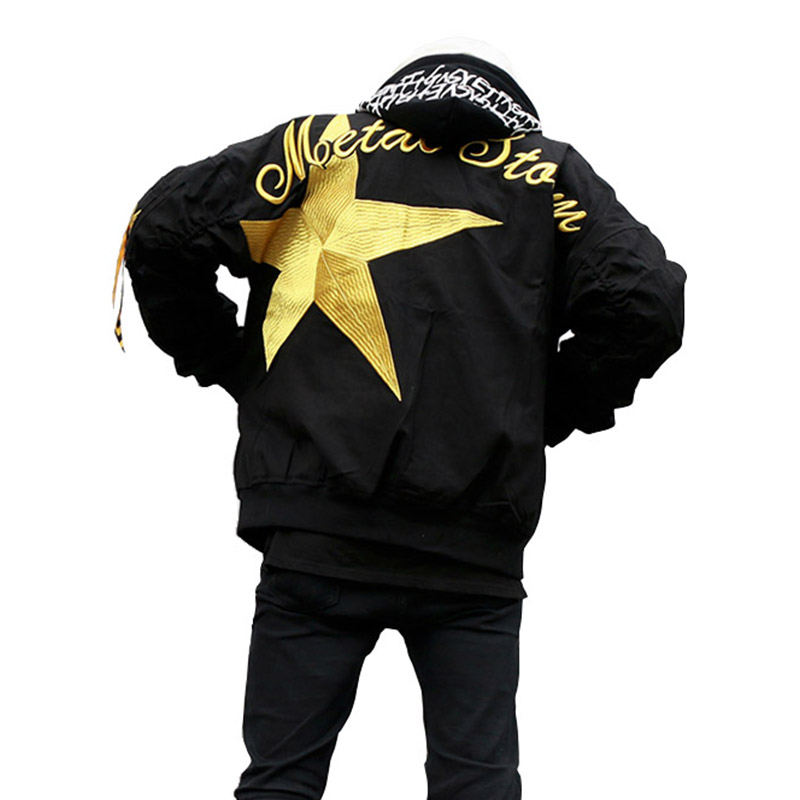 Thick Jacket MA1 2018 High Street Cotton Padded Bomber Jacket Men Bomber Coat Hip Hop Star Flight Embroidery Coat