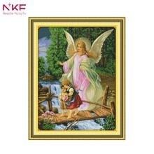 NKF 14CT 11CT Счетный и печатью Ангел конвой наборы для вышивки крестом для украшения дома R267 (1)(China)