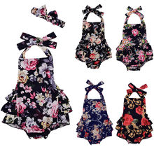 Multi-style Babies Summer Halter Floral Headband Bodysuit Cute Baby Girls Flower Ruffle Bodysuits Outfits Clothes 0-24M(China)