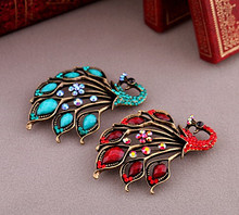 Vintage Style Antique Gold Blue/Red Rhinestone Crystal Peacock Brooches and Pins