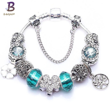 Buy European Style Vintage Silver plated Crystal Beads charm Bracelets Fit Original Beads DIY Pandora Bracelet Women Jewelry for $3.49 in AliExpress store