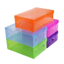 Candy Color Clear Foldable Plastic Shoe Storage Case Boxes Stackable Organizer Shoe Holder 7.5x18.2x 9.5cm 1 Pcs(China)