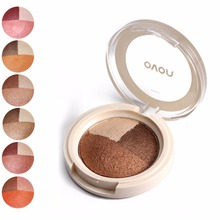 NOVO Brand Eye Makeup 3 Color Matte Eyeshadow Palette Mineral baked eye shadow powder 2 usage of Wet and dry eye shadow palette(China)