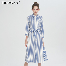 SINRGAN 2017 New Women Autumn Winter Striped Loose Shirt Dress Preppy Style High Waist Cotton Blends Casual Vintage Vestidos(China)