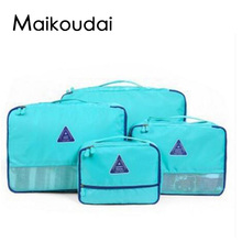 Maikoudai 4Pcs Clothes Shoe Bags Packing Cube Travel Luggage ZIP Pouch(China)