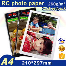 20 sheets Glossy RC Photo Paper 300g 260g 235g 200g High resolution Resin coated waterproof digital image printing paper(China)