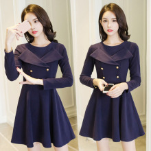 Fitness woolen pleated mini dress woman vintage cute winter thick long sleeve dresses female navy blue clothing lady dress new(China)