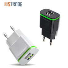 HSTRAOEEU Plug 2 Ports LED Light USB Charger 5V 2A Wall Adapter Mobile Phone Micro Data Charging For iPhone iPad Samsung