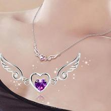 925 Steeling Silver Necklace Fashion Angel Love Wings Peach Heart Necklaces Party Birthday Jewelry Gift For Women Girl C2(China)