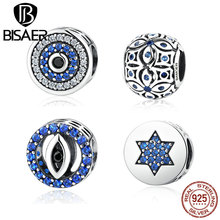 100% 925 Sterling Silver Blue Crystals Eyes Round Bead Charms Fit Pandora Bead Charm Bracelets & Bangles Jewelry ECC092(China)