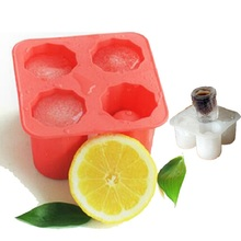 101*101*55mm 4-Cups Square Ice Cube Shot Glass Tray Silicone Mold Cool Shooters Jello Mould Red/Blue/White(China)